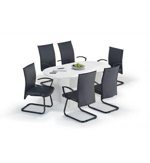 White Executive Boardroom Table and Modern Cantilever Chairs Bundle