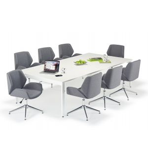 White Executive Bench Style Tables & Grey Boss Design Kruze Inspired Chair Bundle