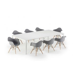 White Executive Bench Style Tables and Grey Charles Eames Inspired DAW Bundle