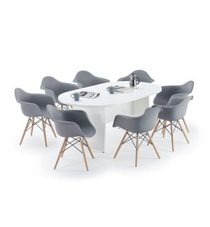 White Executive Boardroom Table and Grey Charles Eames Inspired DAW Bundle