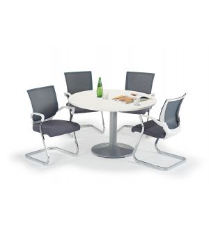 White Circular Office Table And Trumpet Base With Grey And White Cantilever Chairs Bundle