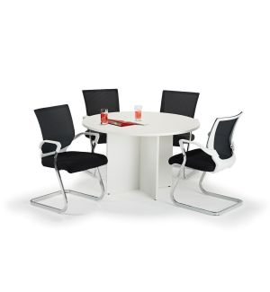 White Circular Office Table with Black Cantilever Chairs Bundle