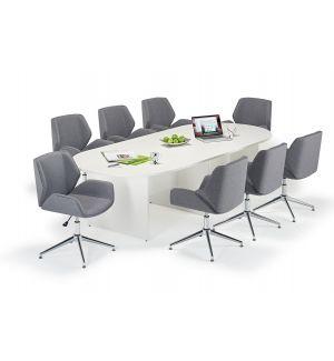 White Executive Modular Boardroom Table & Grey Boss Design Kruze Inspired Chair Bundle