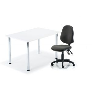 Reduced To Clear White Table On Chrome Legs With Swivel Office Chair Bundle