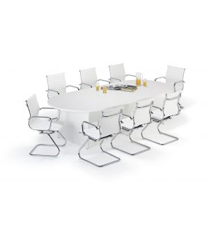 White Executive Modular Boardroom Table and White Charles Eames Style Leather Boardroom Chairs Bundle