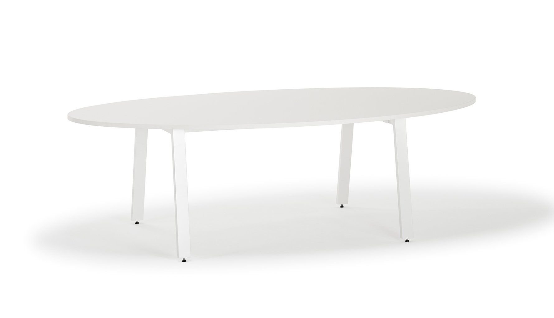 Picture of: White Oval Boardroom Table With White Angled Legs