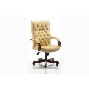 Leather Traditional High Backed Swivel Chair - Cream Leather