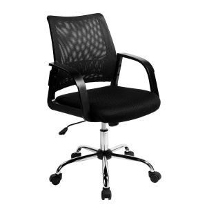Vibrant Task Operators Chair with Mesh Back and Arms - Black