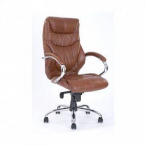 High Back Leather Faced Executive Armchair with Chrome Base