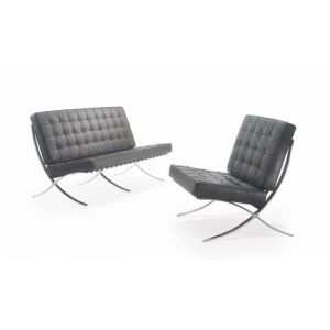 Miles Van Der Rohe Inspired Barcelona Black Leather Reception Seating