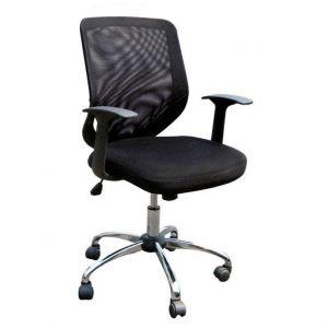 Black Mesh Back Operators Chair With Chrome Base