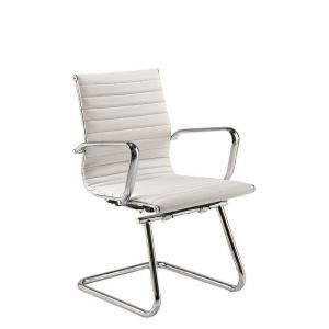 White Charles Eames Style Leather Boardroom Chair