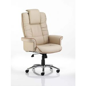 Leather Executive Chair with Filled in Arms - Cream Leather