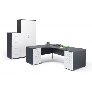 Graphite Grey Office Suite with Pedestals