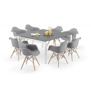 Graphite Grey Executive Square Bench Style Tables and Grey Charles Eames Inspired DAW Bundle