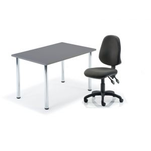 Reduced To Clear Graphite Table On Chrome Legs With Swivel Office Chair Bundle