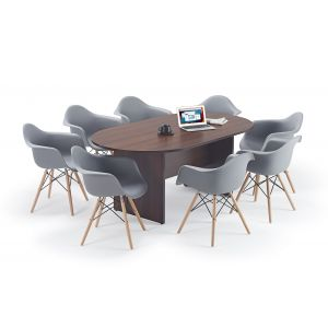 Walnut Executive Boardroom Table and Grey Charles Eames Inspired DAW Bundle