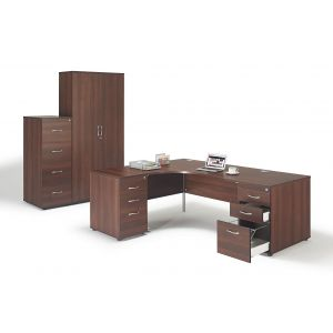 Walnut Office Suite with Pedestals