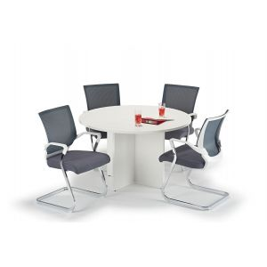White Circular Office Table With Grey And White Cantilever Chairs Bundle