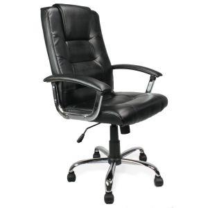 High Backed Leather Faced Armchair