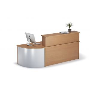Straight Beech Reception Desk With Curved Unit Bundle