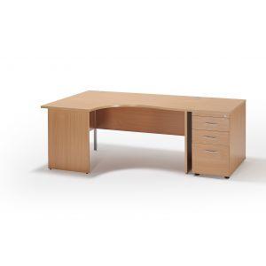 Curved Beech Panel Leg Office Desk and 800mm Deep Desk High Pedestal