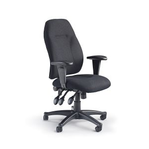 Ergonomic High Backed Operators Chair with Adjustable Arms - Black