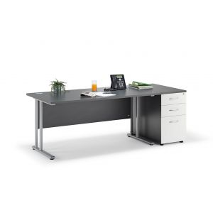 Graphite Grey Cantilever Office Desk with Desk High Pedestal