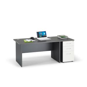 Graphite Grey Panel End Office Desk with Desk High Pedestal