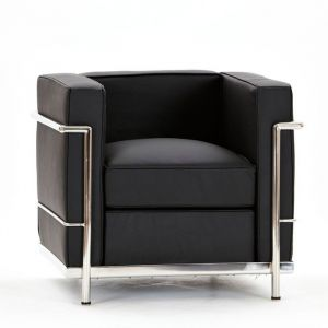 Le Corbusier Inspired Faux Leather Black One Seater Sofa