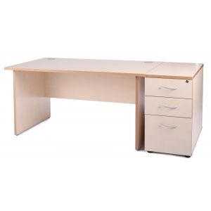 Maple Panel End Office Desk with Desk High Pedestal Bundle