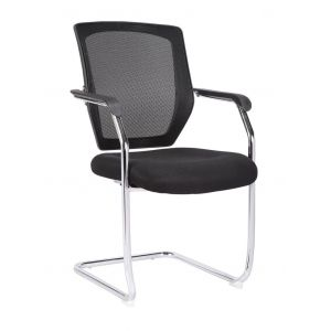 Medium Back Mesh Cantilever Chair with Chrome Frame - Black Side View