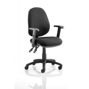 High Backed Office Chair with adjustable Arms - Black