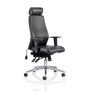 24 Hour Executive Swivel Chair (Chiropractor Approved) - Black Leather with Headrest