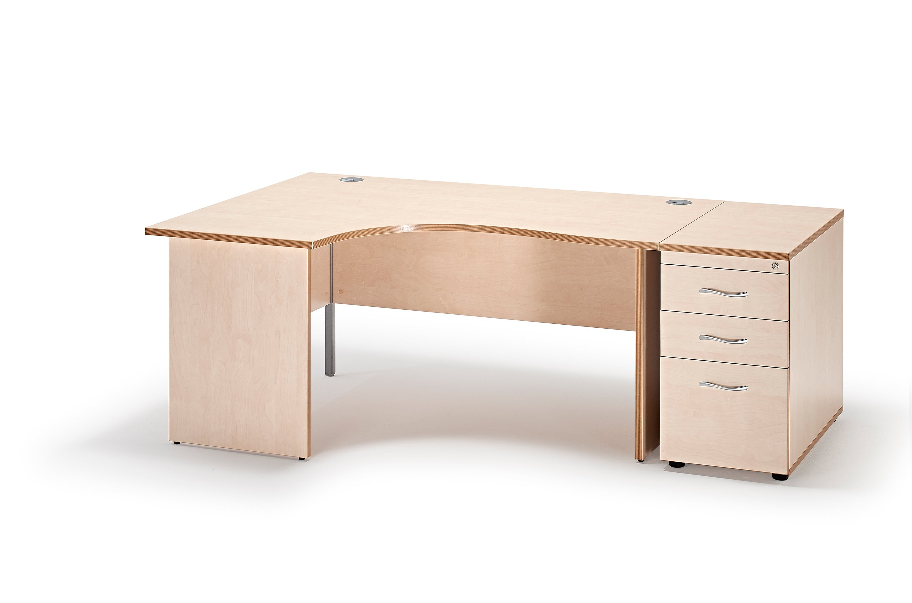 Next Day Curved Maple Panel Leg Office Desk And 800mm Deep