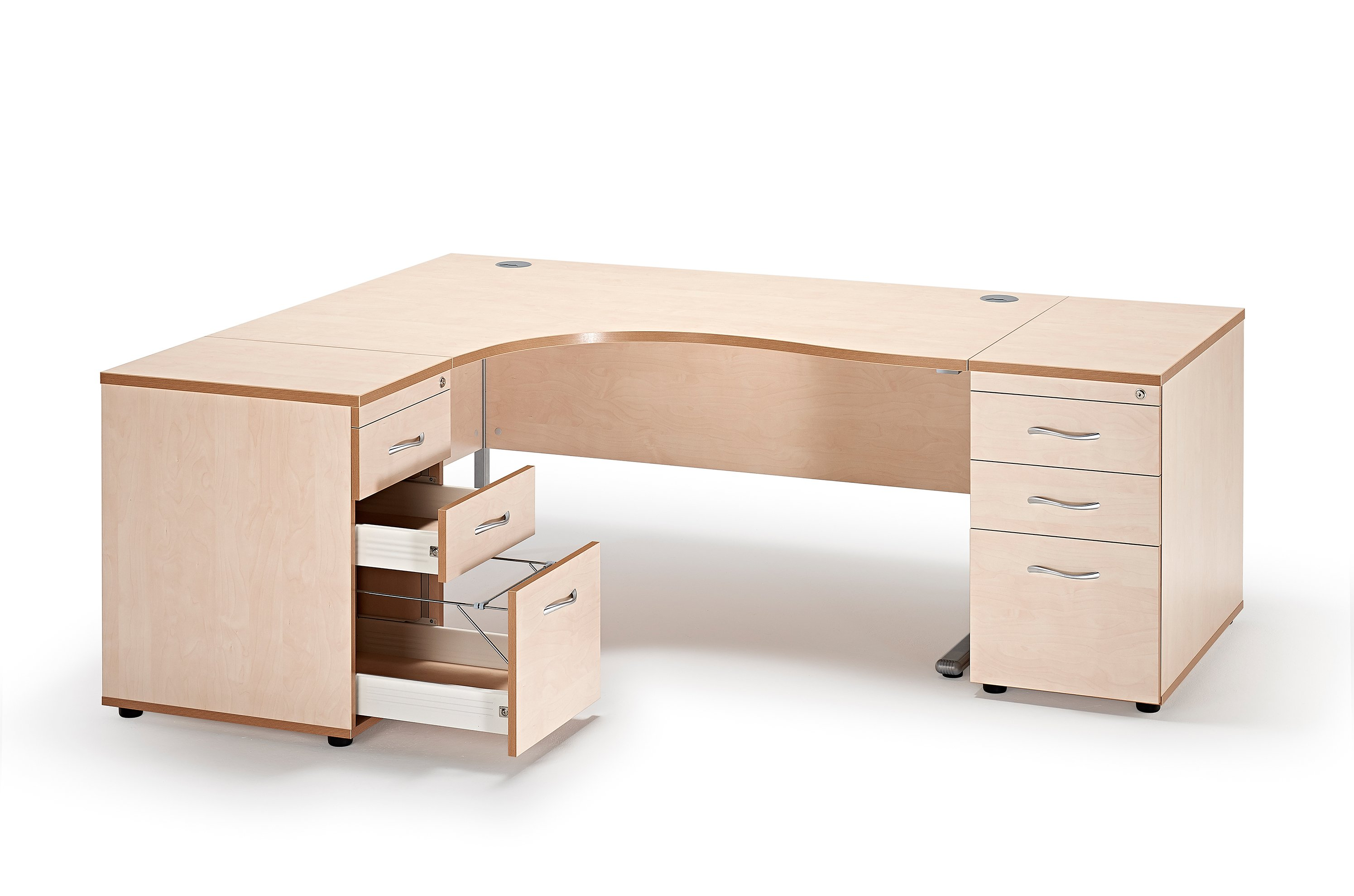 next day curved maple cantilever office desk and 2 desk high pedestals