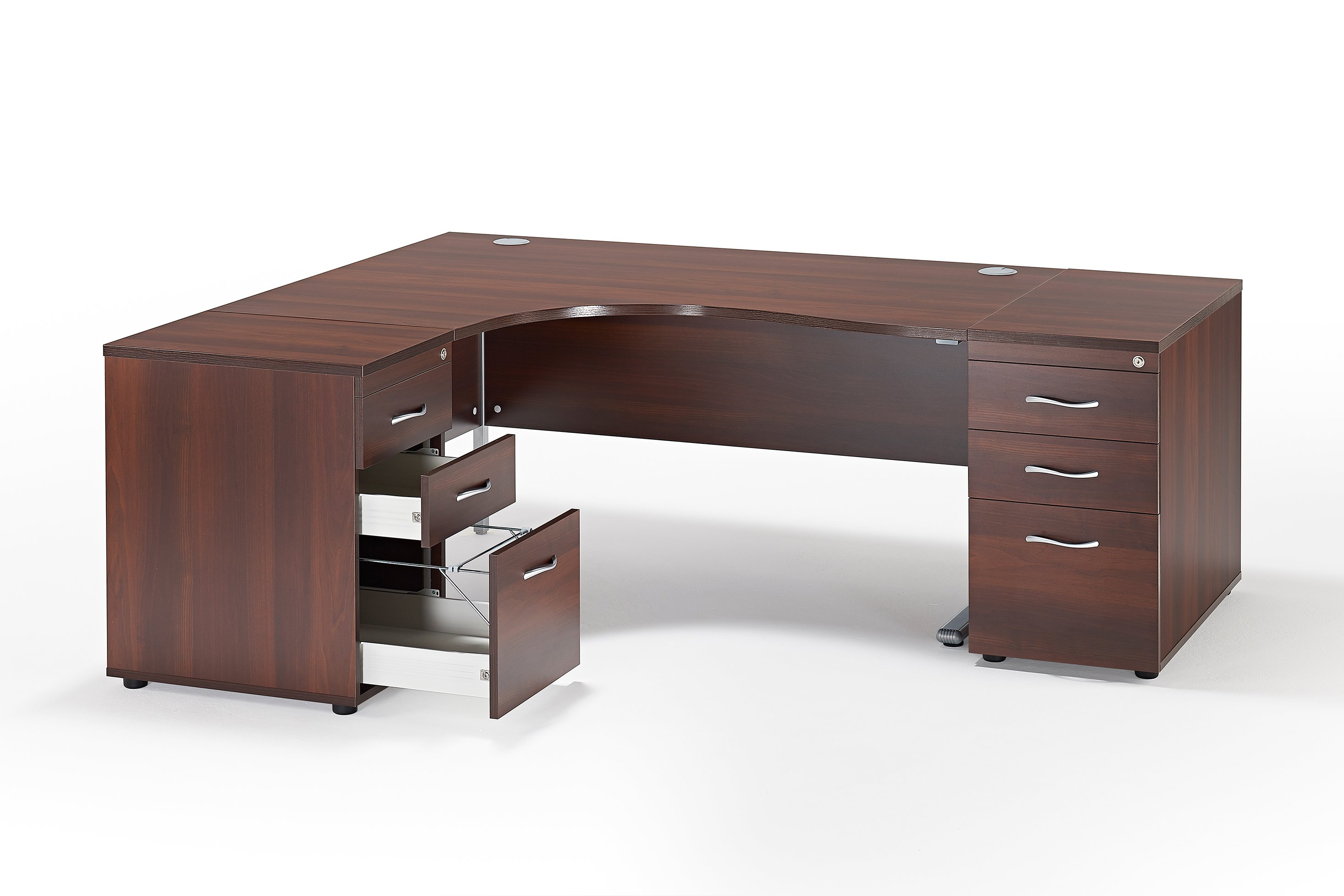 Next Day Curved Walnut Cantilever Office Desk And 2 Desk High Pedestals Bundle