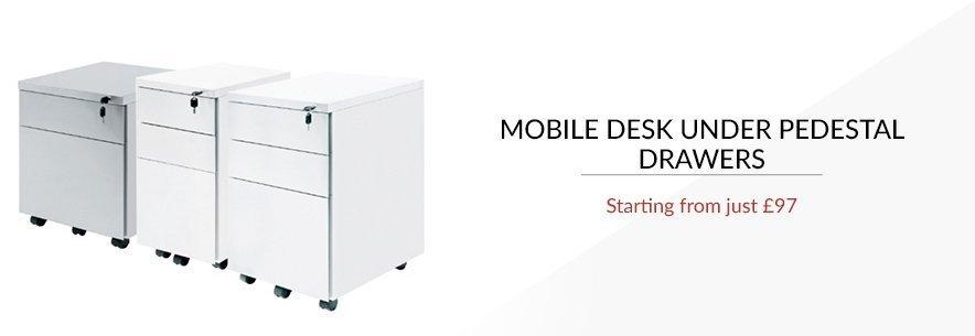Mobile Desk Under Pedestal Drawers