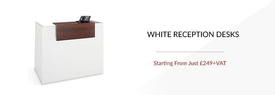 white reception desk banner